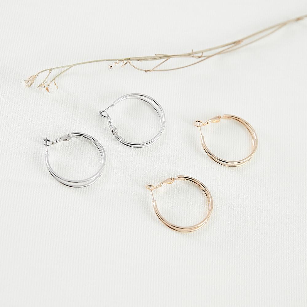 Midi double ring earrings