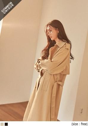 韓國空運 - 開衩襬雙排釦風衣外套 WITH CELEBRITY 大衣外套