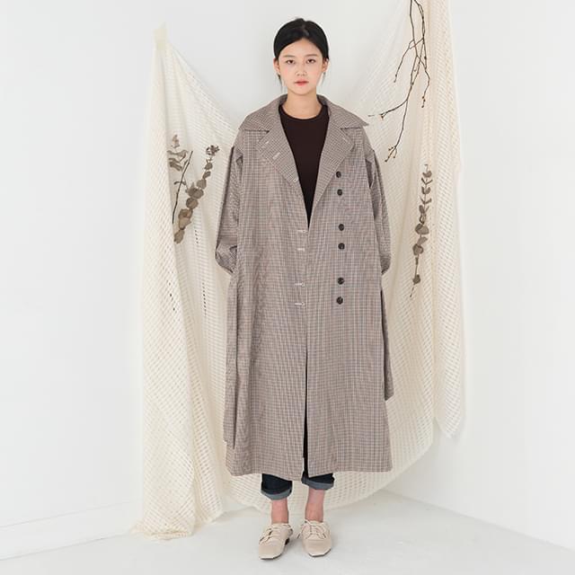 unbalance button check pattern long trench coat
