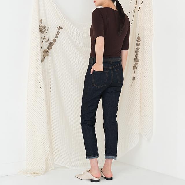 deep color slim straight denim pants