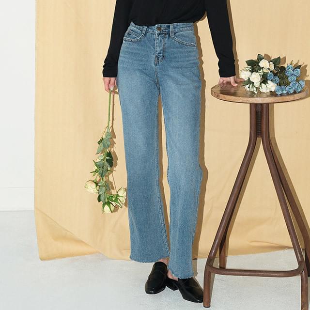 neat straight denim pants