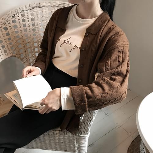 Vintage color knit cardigan-deep pink, khaki