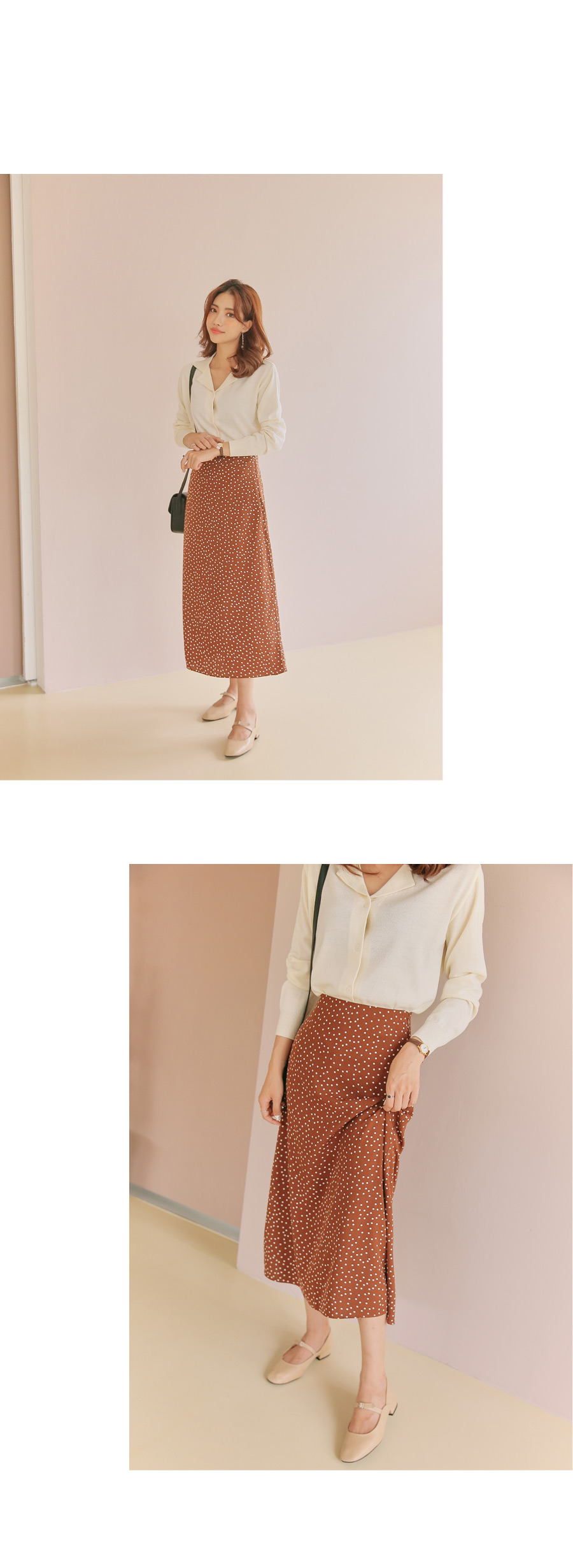 Dot flare long skirt