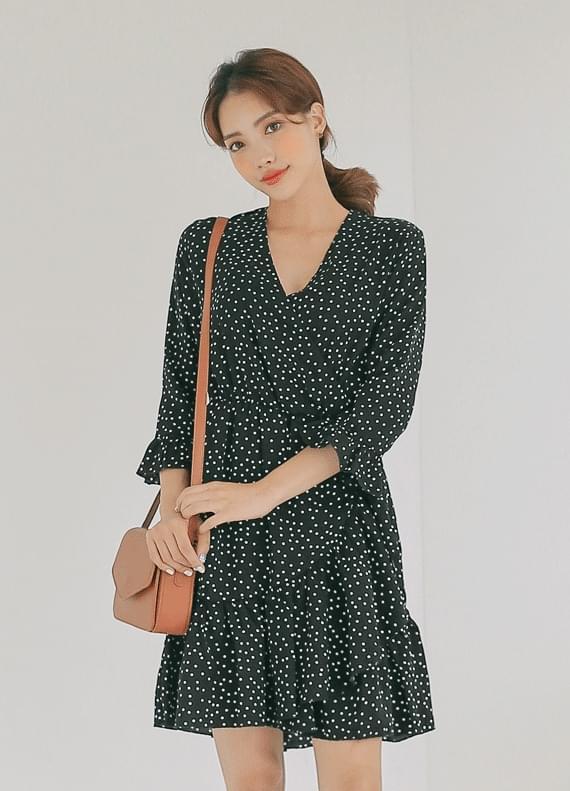 Dot flare dress