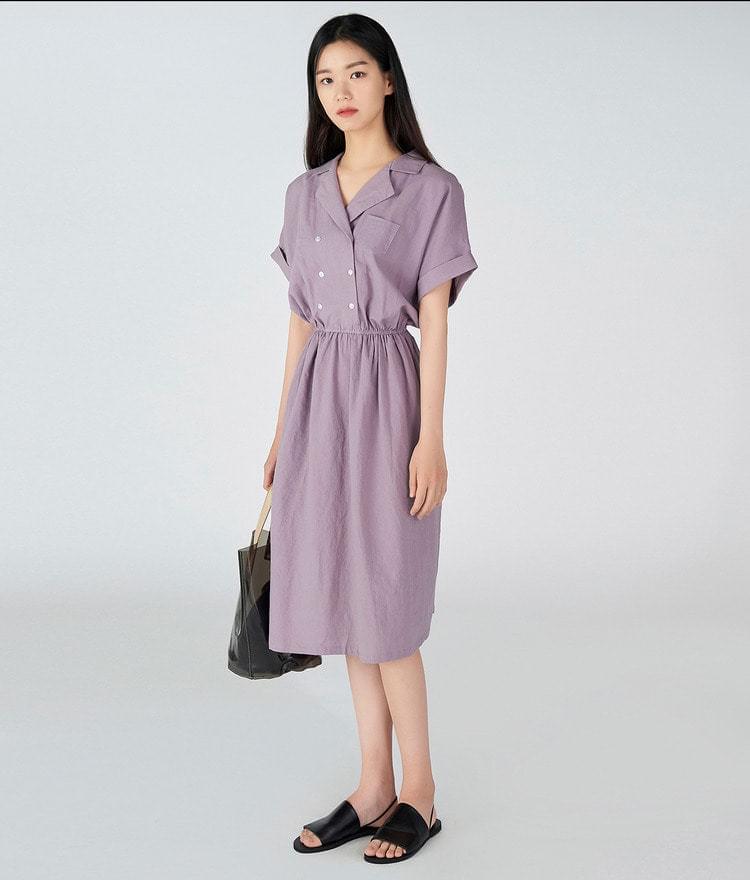 Double Button Linen Dress
