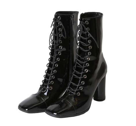 enamel lace-up middle boots (2 color)