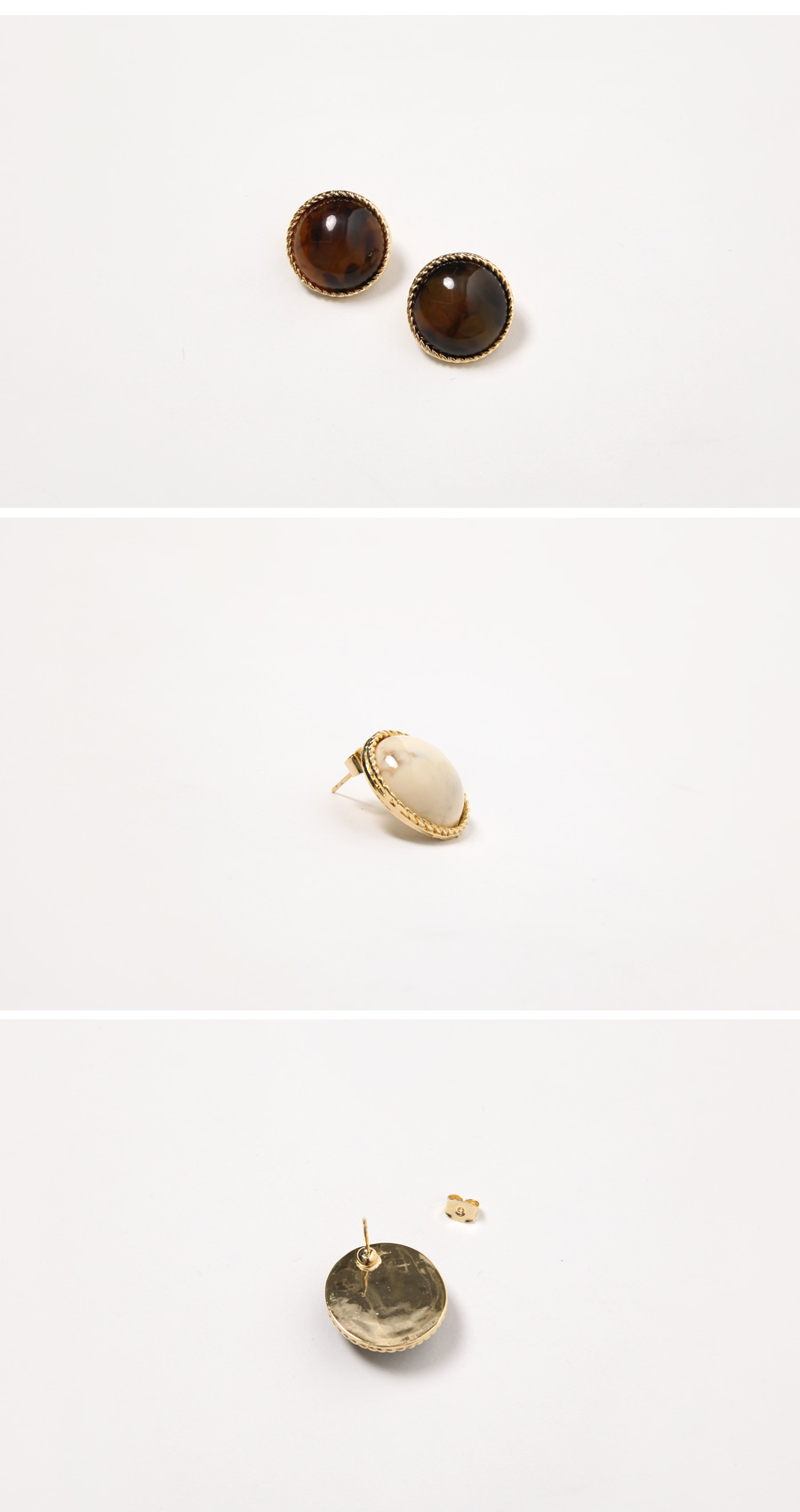 Time vintage stone earring_M (size : one)