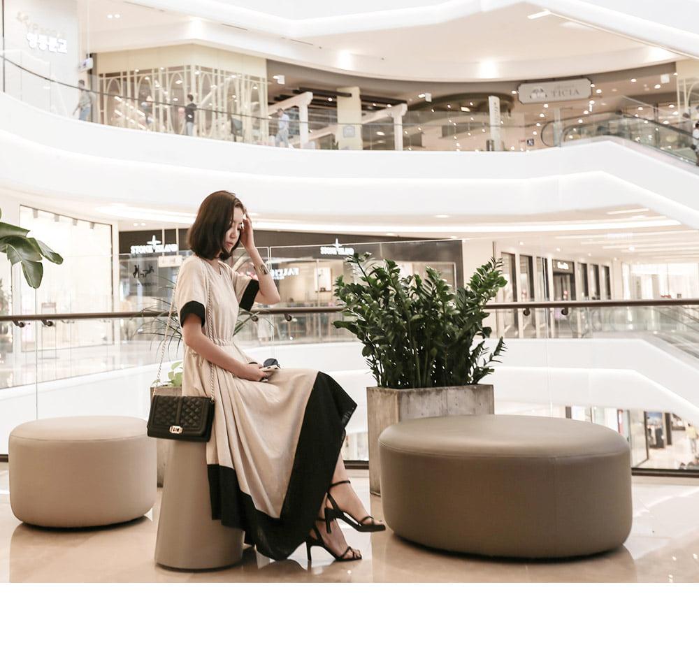 Flare dress with linen color scheme _op02561