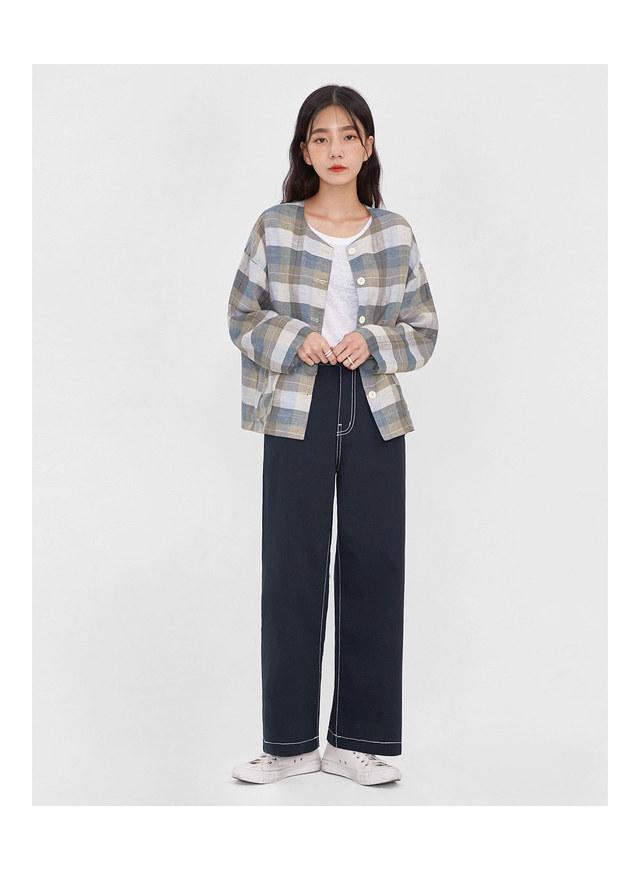 islet check linen jacket