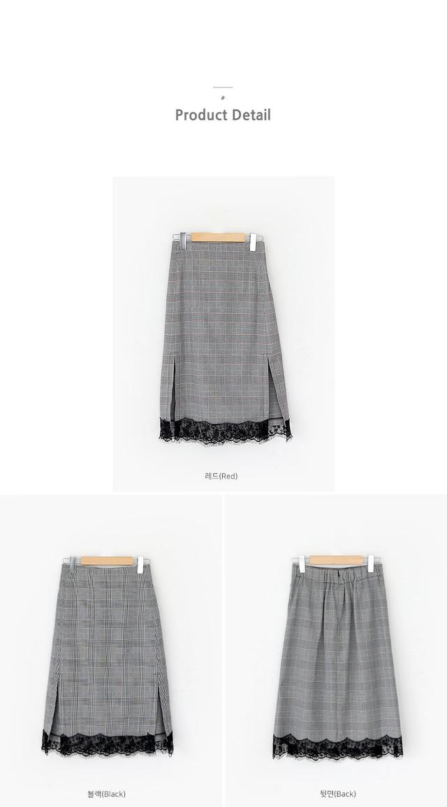 Rwan check lace skirt