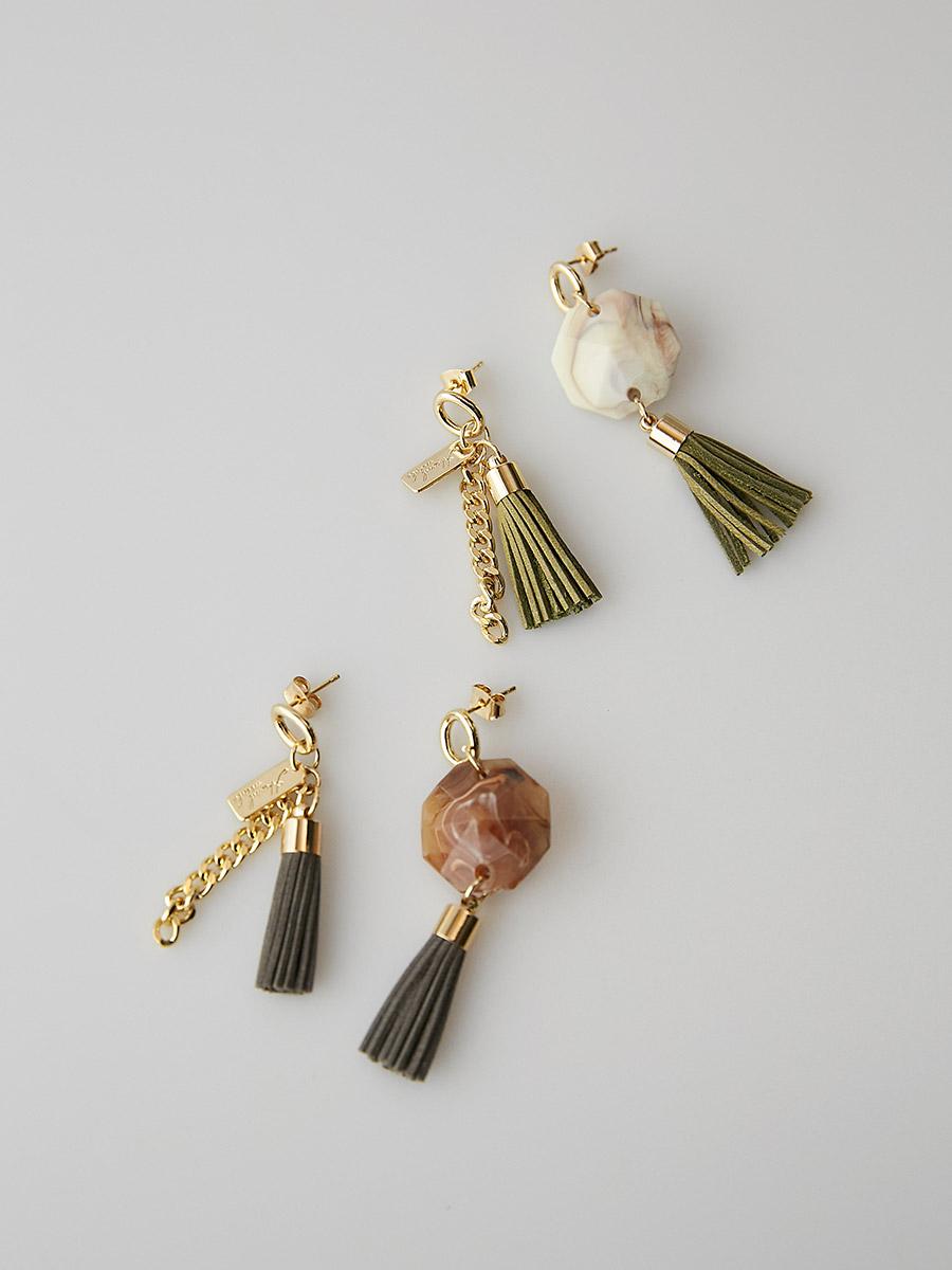 stone tassle earring