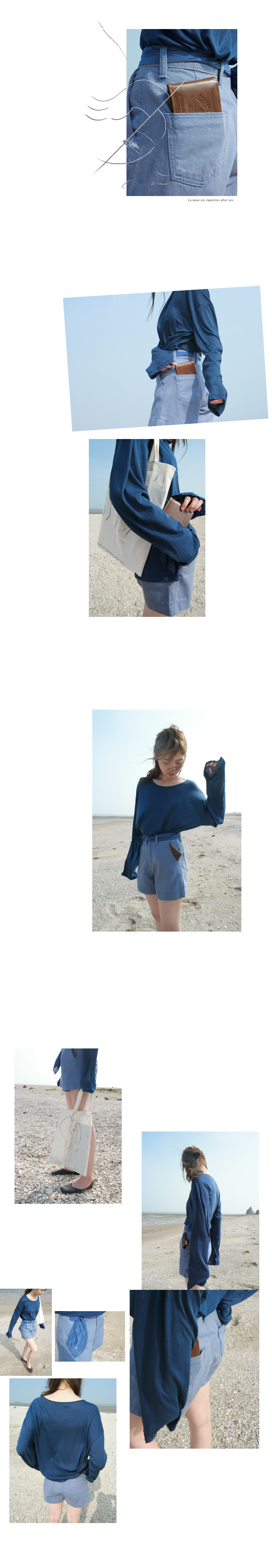 slice cotton long sleeve top (2colors)
