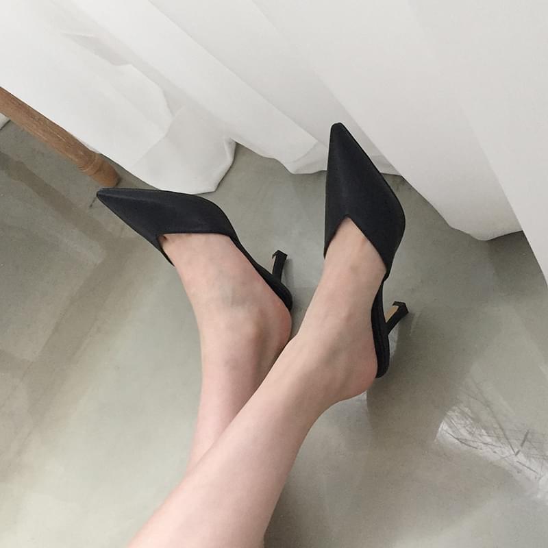 V-cut mule shoes 7cm