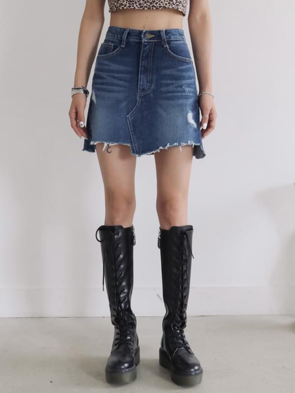 Western damage denim skirt