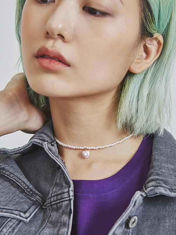 heart choker pearl necklace