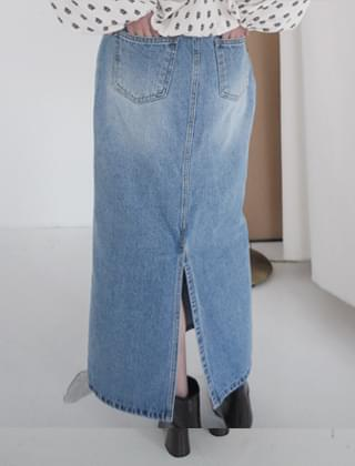 straight long denim skirt