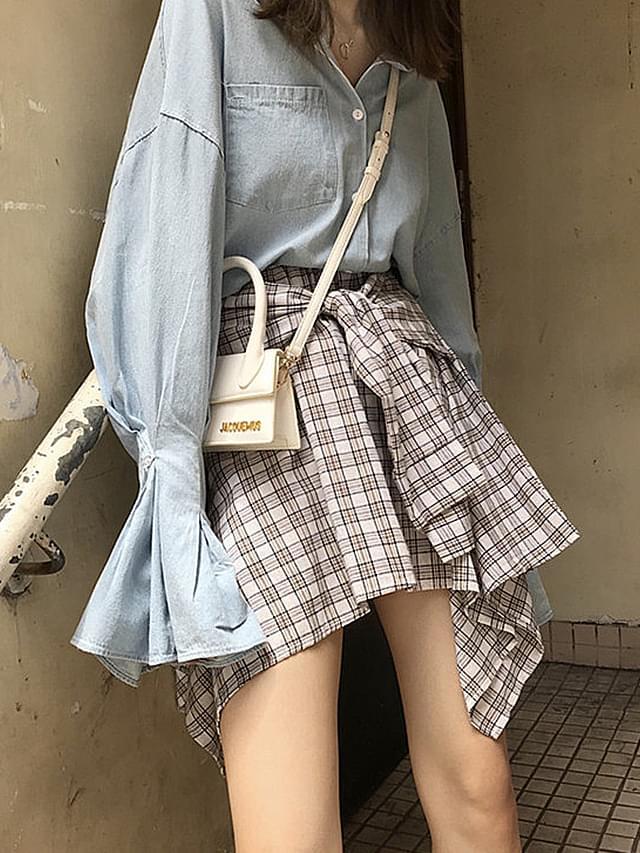 Check shirt ribbon mini skirt