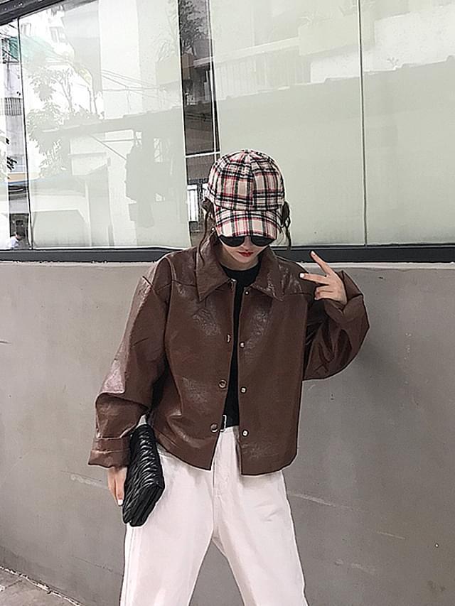 McGuiver Crop Leather Jacket