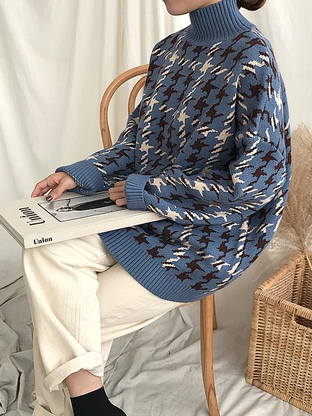 Warm pastel polar hound check knit