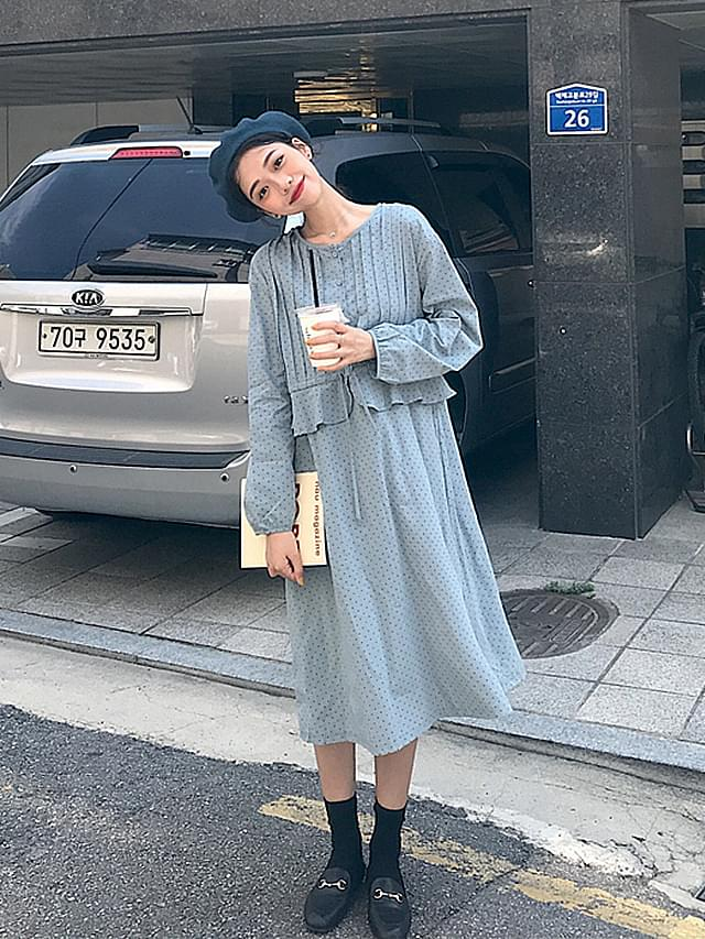 Lace waist ruffle dot long dress