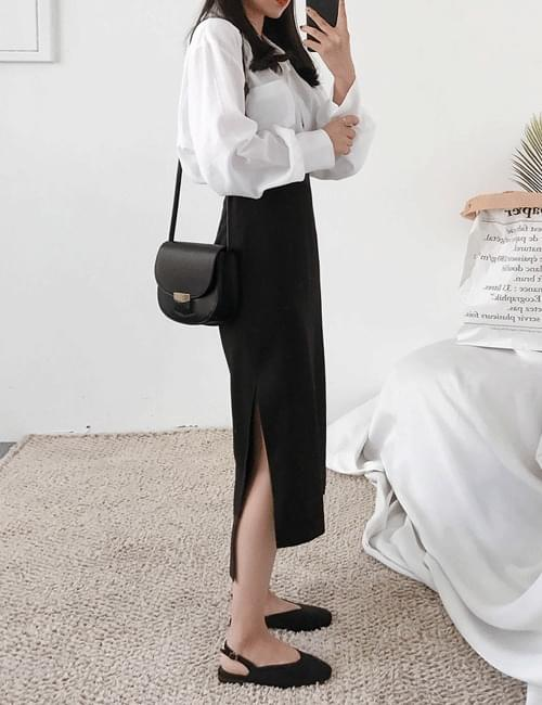 Flare knit top long skirt