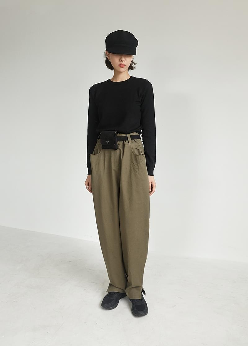 Belted loose pants