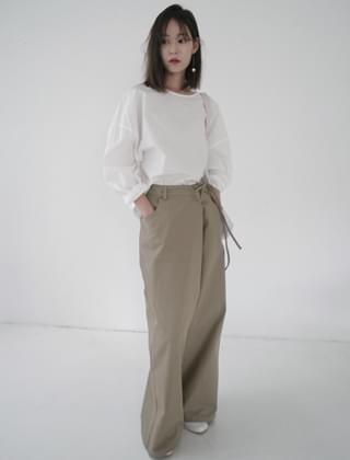 wrap string wide pants (3colors)