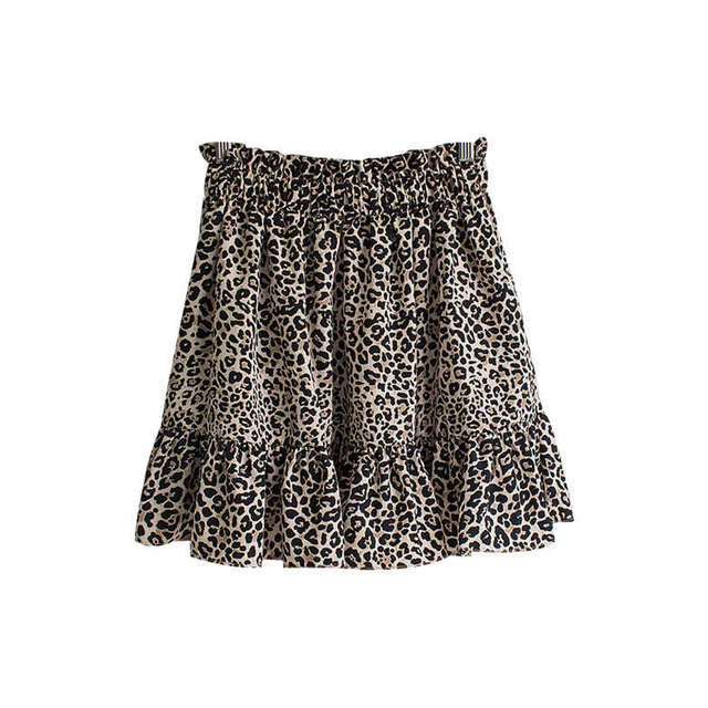 Doubled Leopard Bending Mini Skirt