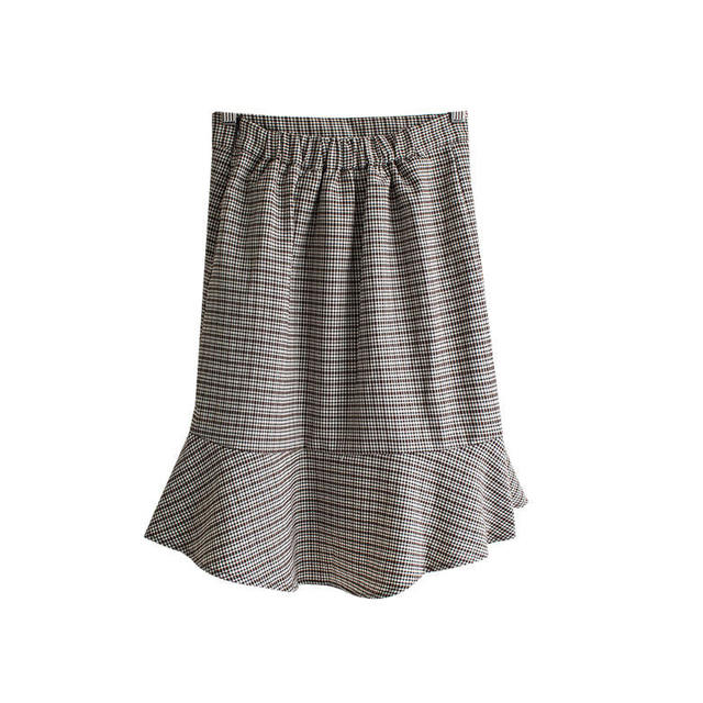 Bobby Midi Mermaid Check Skirt