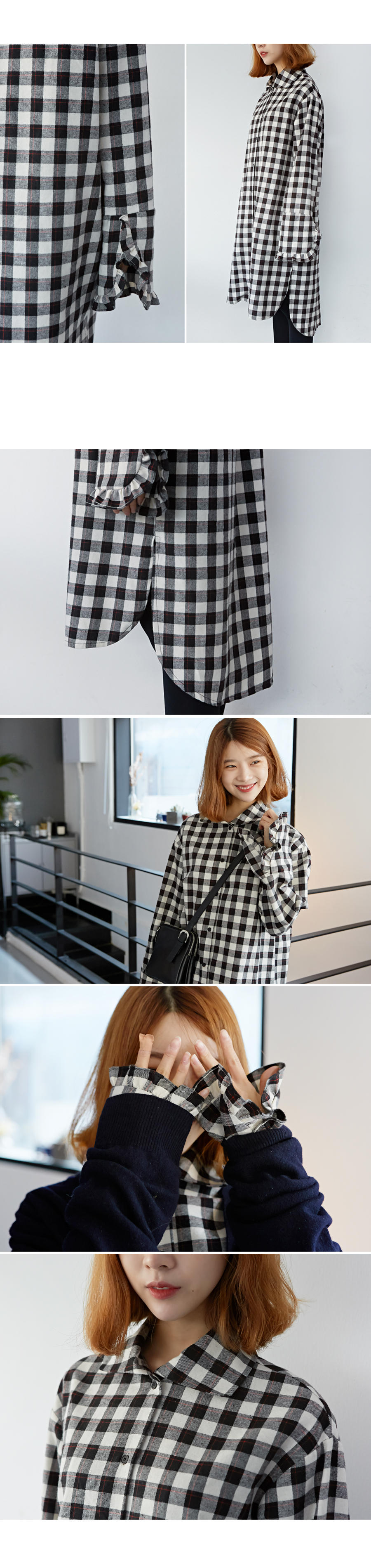 Made_ops-071_check frill shirts ops (size : free)