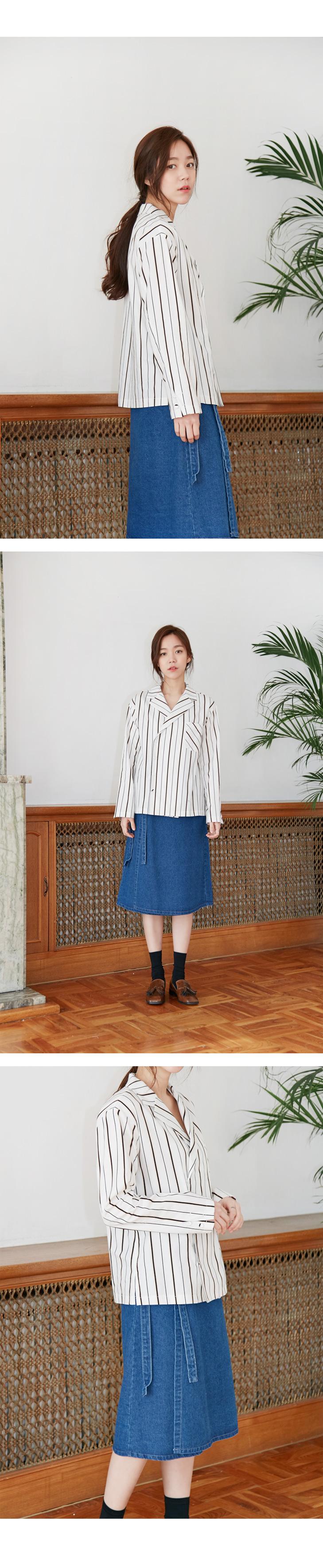 Made_top-147_wear stripe cotton shirts (size : free)
