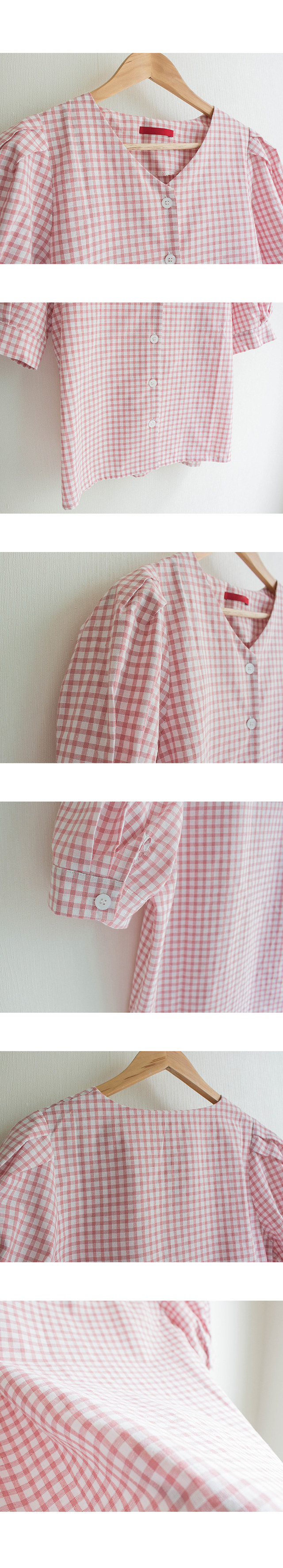 Puff sleeve button check shirt