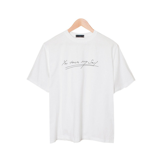 Soul lettering loose-fitting round cotton t-shirt