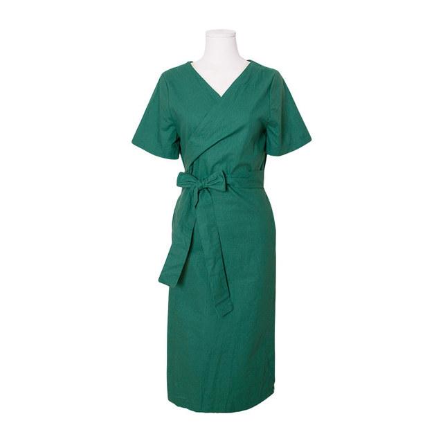 Anna V Neck Ribbon Wrap Long Dress