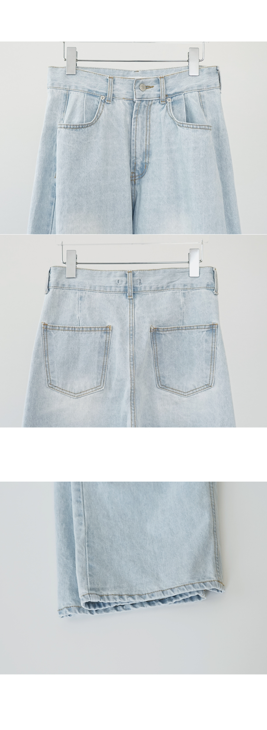 light washing wide denim