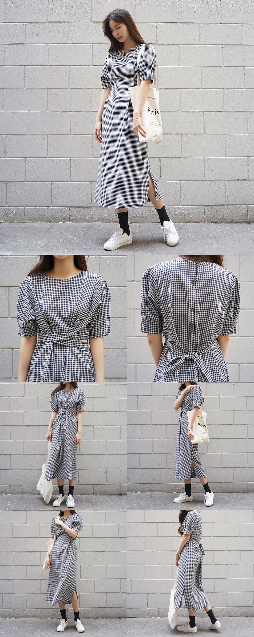 Checked Ribbon Dress