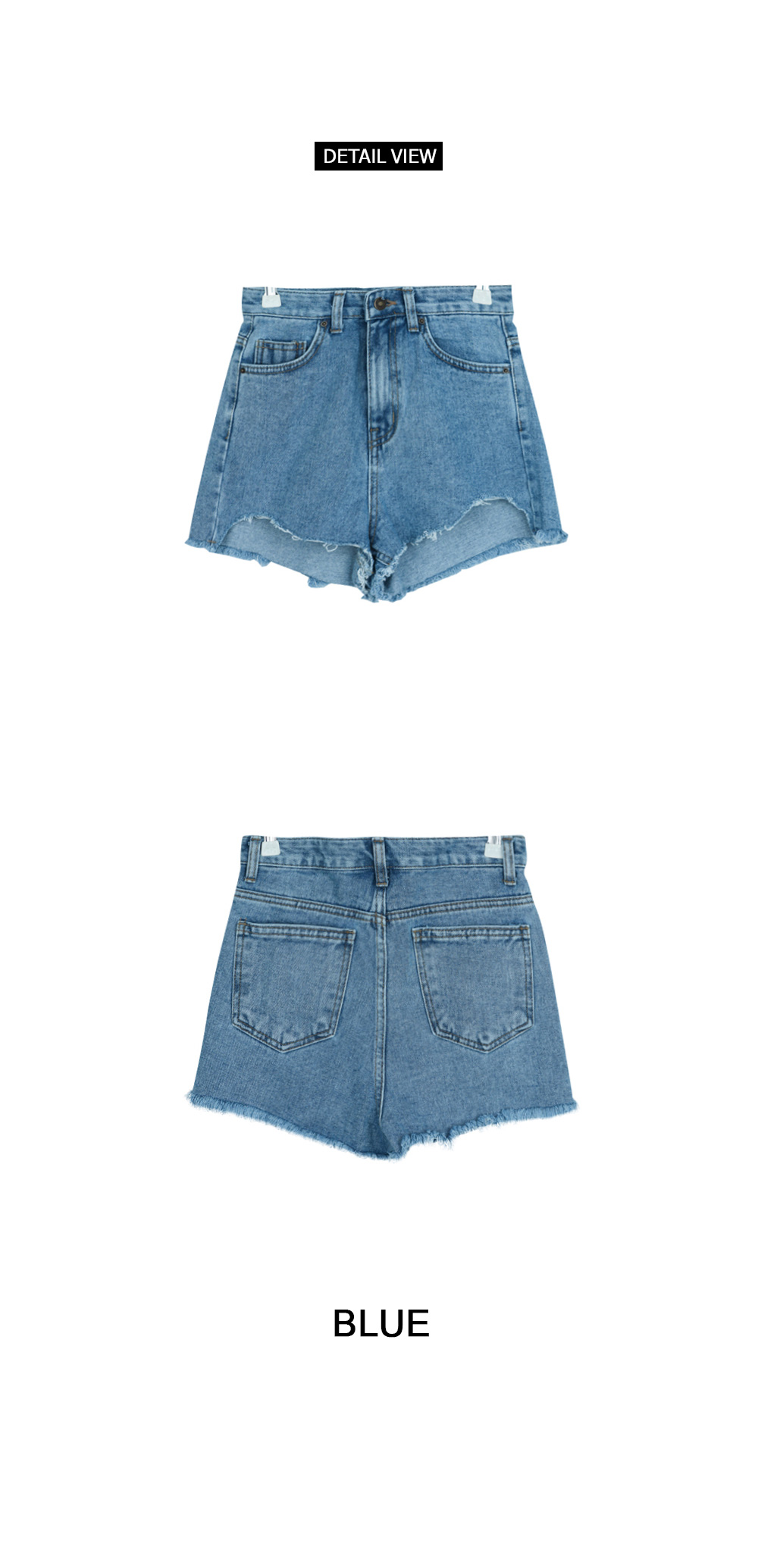 Paper cut short denim
