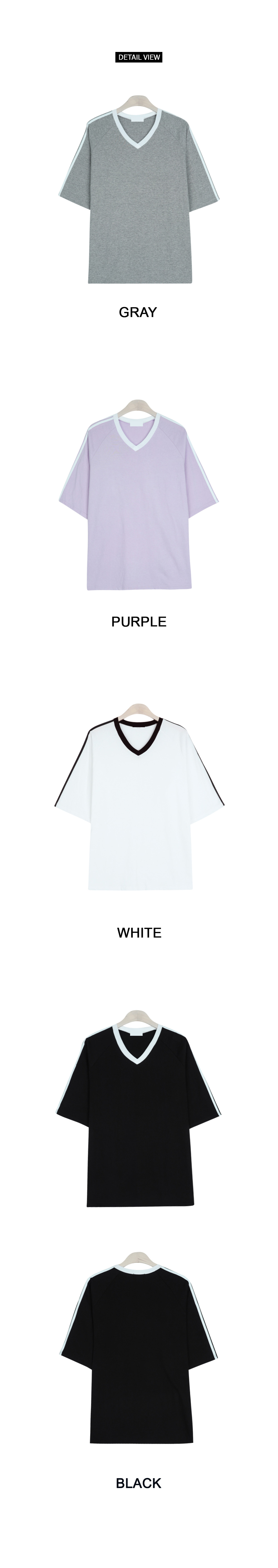 Simple color V neck short sleeve tee