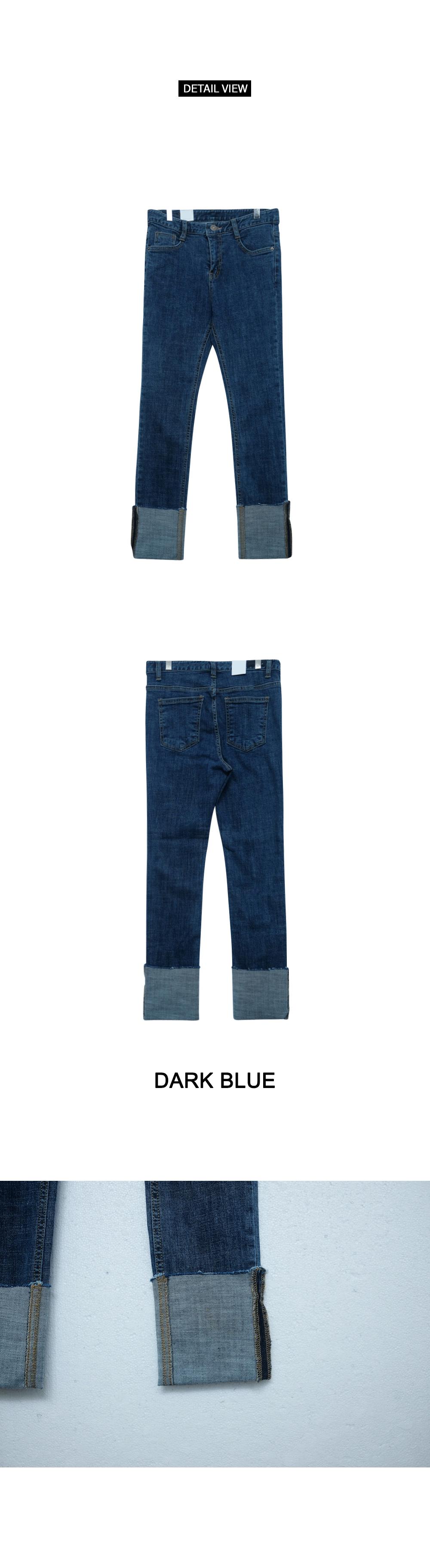 Roll-up straight denim pants