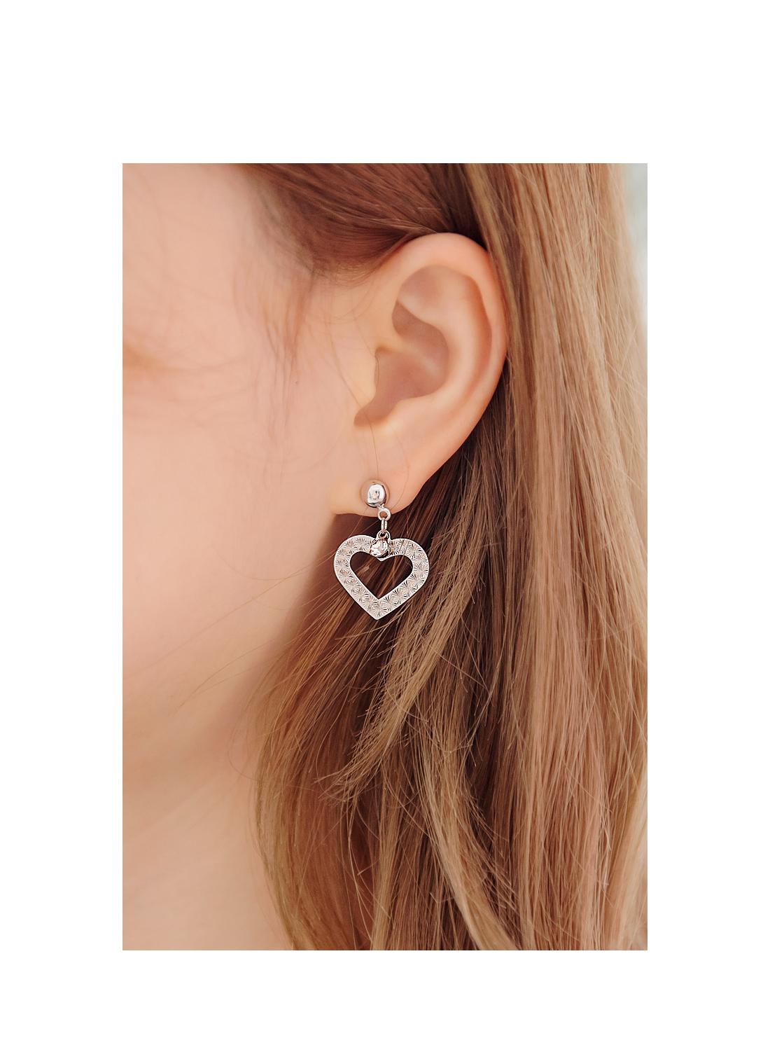 [JEWELRY] TWINKLE HEART CUBIC EARRING