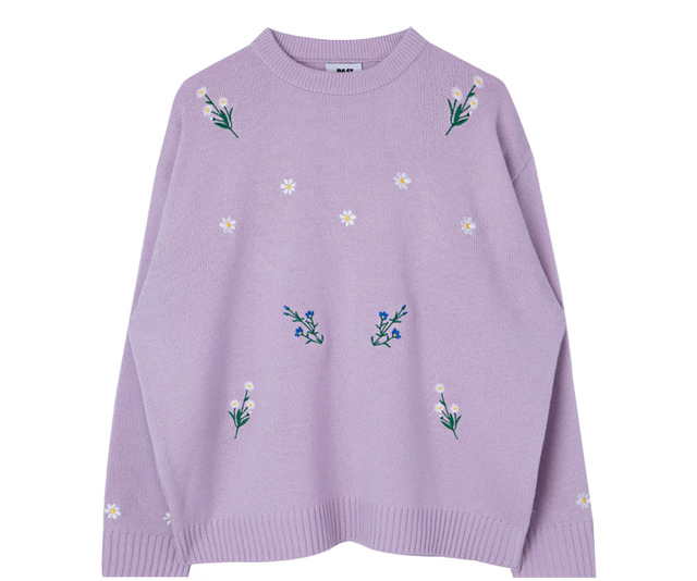 Flower embroidery knit