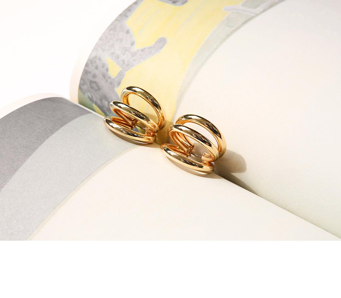 [JEWELRY] THREE GOLD CIRCLE BOLD EARRING