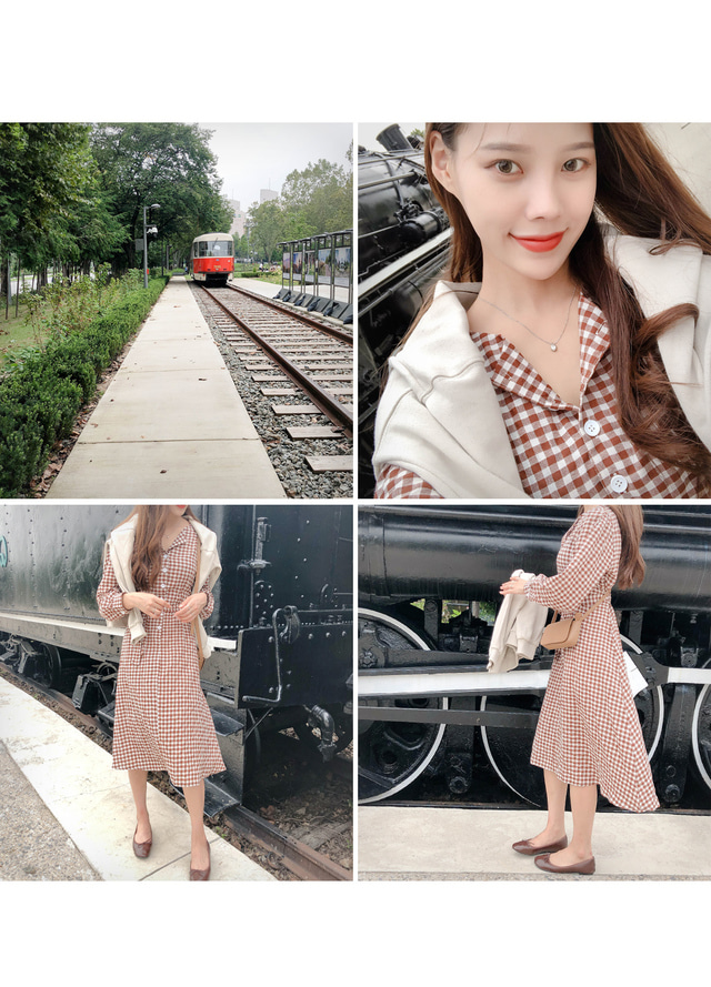 Check Candy Long Dress
