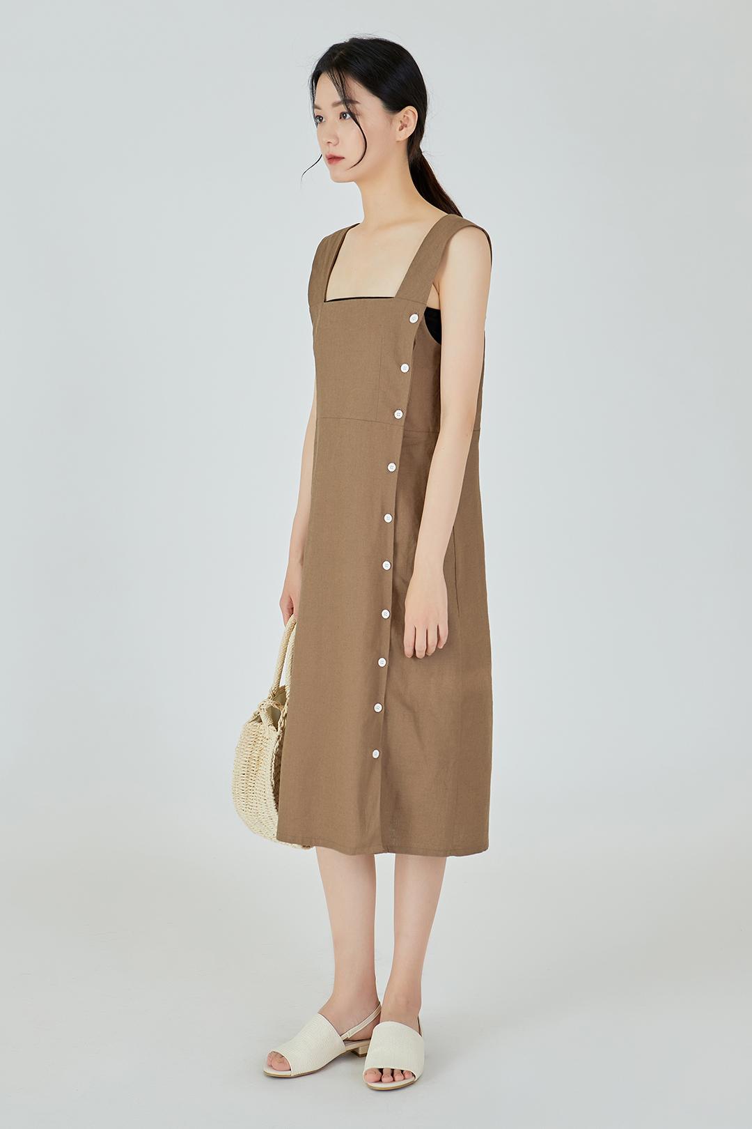 Side Button Linen Dress