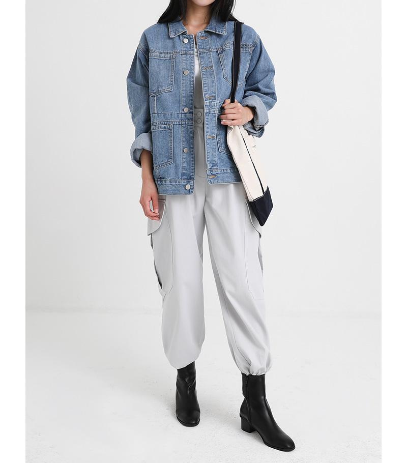 pocket basic denim jacket (2colors)