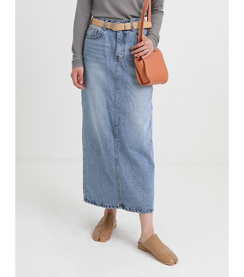 long belt set denim skirt
