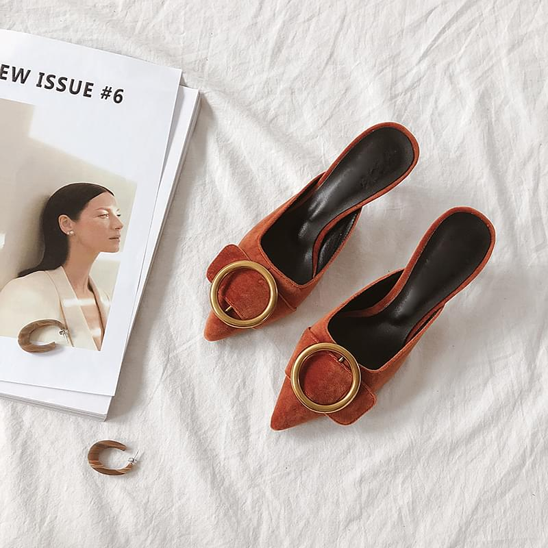 Gold ring mule shoes 7cm