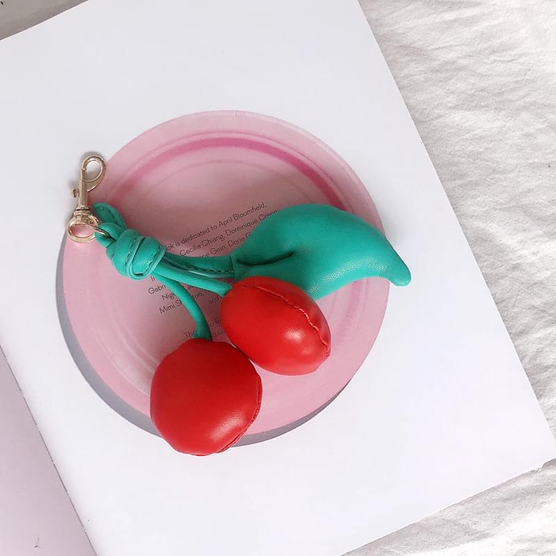 Cherry Love Keyring Real Cowhide