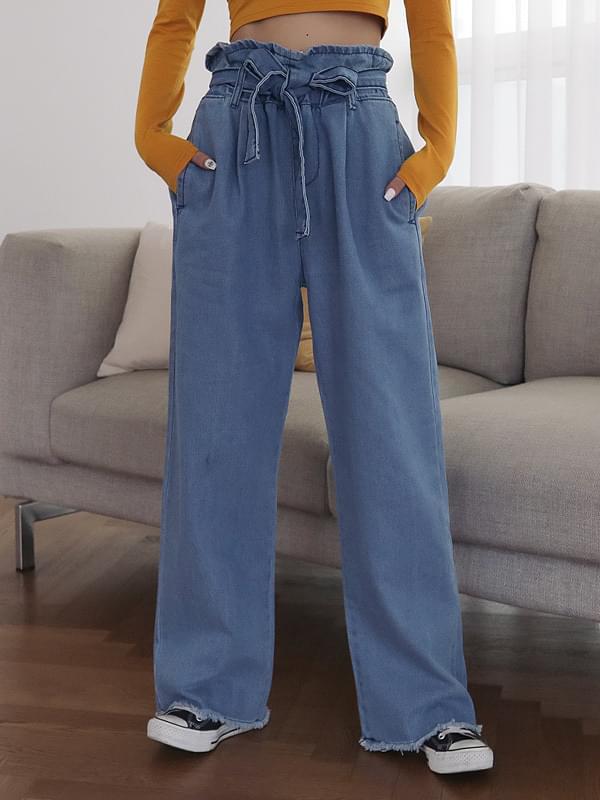 High ribbon denim long pants