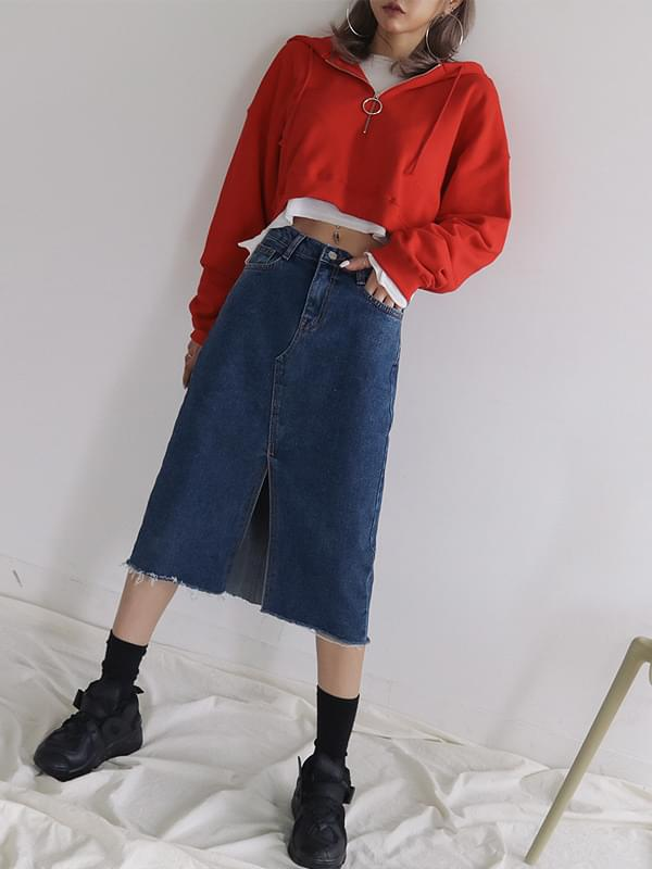 Center denim midi skirt
